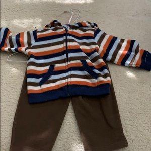 Boys matching fleece pants and zip up
